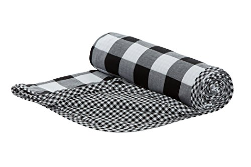 Henry and Bros. Large Double Layer Toddler Blanket, Girl Nap Blanket/Boy Nap Blanket, Light Blanket For Kids, Kids Quilt Patterns Made Of 100% Cotton (Black and White Buffalo Check) by Henry And Bros.