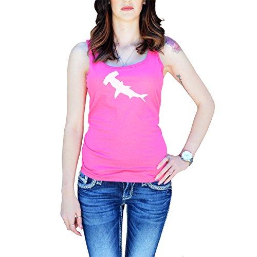 Hammerhead Tank - Women's Hammerhead Shark Silhouette Tank Top Medium Pink