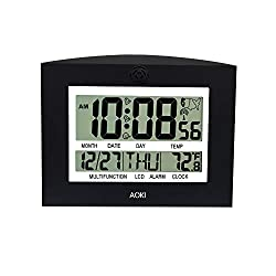 LCD Large US Radio Controlled Digital Wall Clock Table Desktop Atomic Auto Set Up with Day Date Month 12 24 Hour Dual Alarm Temperature Snooze EST PST MST CST Multi-Language Black AOKI Official Versio