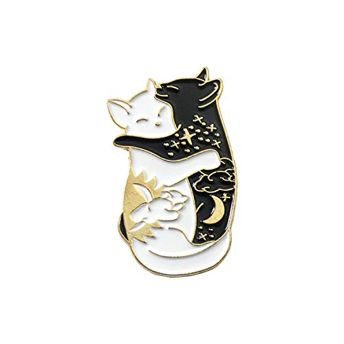 - WBeauty Cat and Fish Brooches Badges Enamel pins Japanese Fish Jewelry,cat-Gold