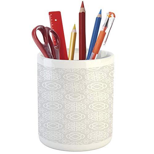 Pencil Pen Holder,Celtic Decor,Printed Ceramic Pencil Pen Holder for Desk Office Accessory,Tribal Celtic Knots Eternity Forms Pattern Boho Decor Ireland Irish Cross Floral Artprint