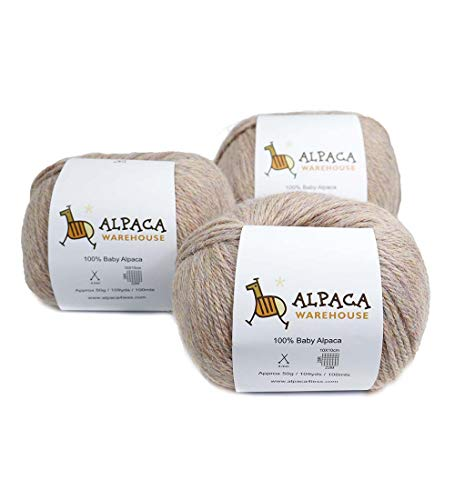100 Soft Wool - 100% Baby Alpaca Yarn Wool Set of 3 Skeins Worsted Weight (Heather Peach)