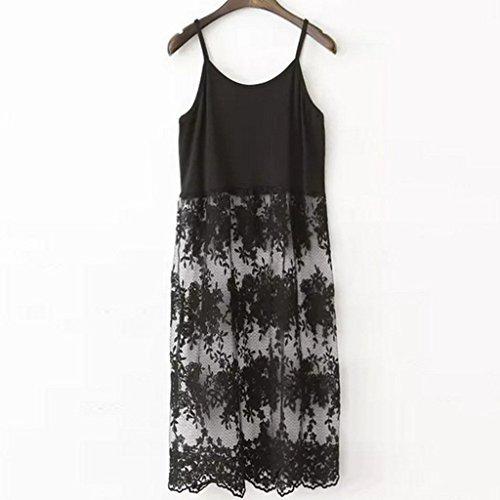 Peak Women's Strap Camisole Tank Slip Extender Trim Layer Lace Over Kness Dress Black XL