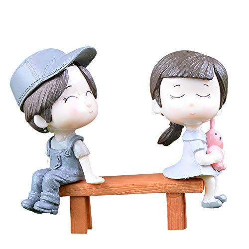 Yu2d  1 Set Cute Lovers Chair Miniature Landscape DIY Ornament Garden Dollhouse Decor(Gray)