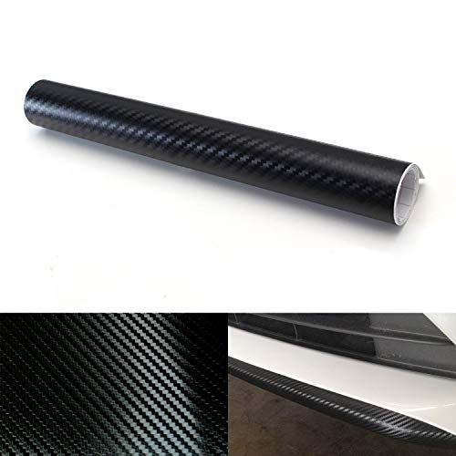 iJDMTOY 12 by 48 inches 3D Twill Weave Glossy Black Carbon Fiber Vinyl Sheet for Trunk/Bumper/Roof Lip, Spoiler, Side Markers, Side Skirts, Fender, Interior, etc