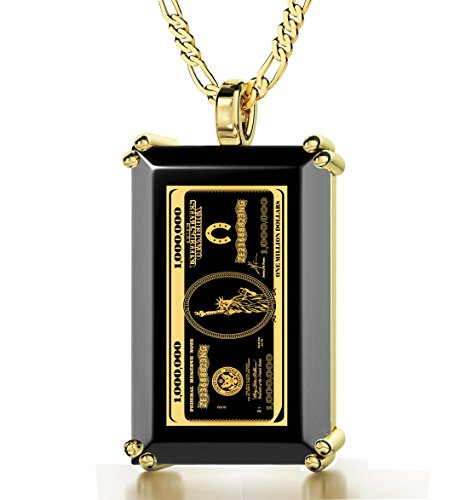Gold Plated Money Necklace Inscribed with $1,000,000 Bill in 24k Gold onto a Black Onyx Pendant, 20'' Gold Filled Chain by Nano Jewelry