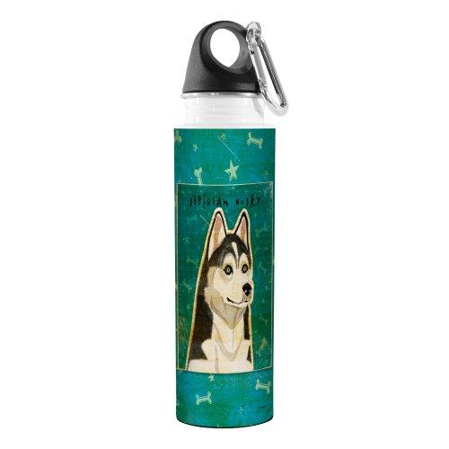 Tree-Free Greetings VB48027 John W. Golden Artful Traveler Stainless Steel Water Bottle, 18-Ounce, Siberian Husky