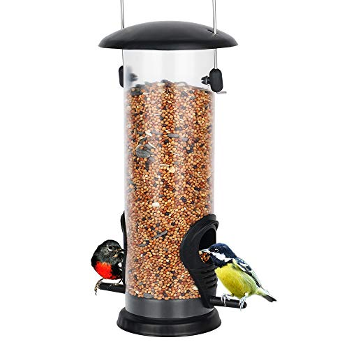 Outdoor Bird Feeder, Wild Bird Feeders for Outside Hard Thick Plastic Tube Peanut Feeder Goldfinch Feeder Sunflower Feeders for Birds Woodpeckers, Cardinals, Chickadees, Nuthatches, Titmouses, Sparrow