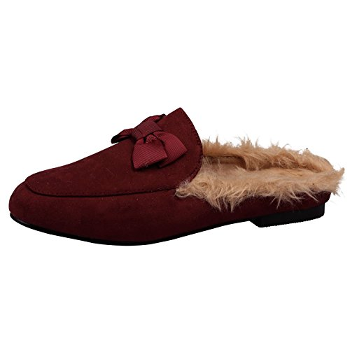 ByPublicDemand Womens Backless Loafers Dorothy Flat Slip On Mules Maroon Red Faux Suede rCWsfy1y
