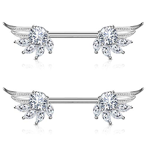 Dynamique Round and Marquise CZ Prong Set Angle Wings 316L Surgical Steel Nipple Ring