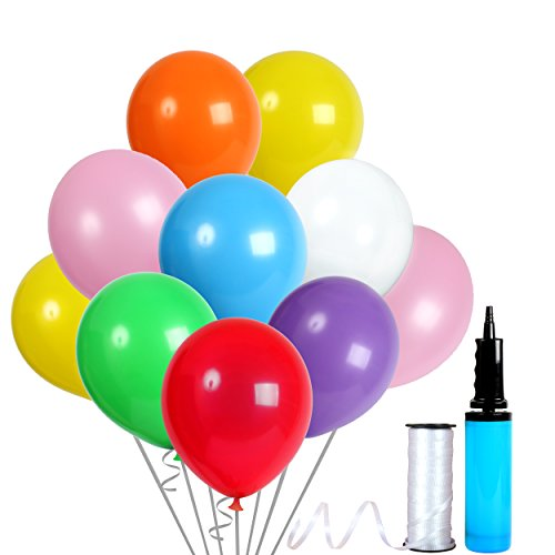 12 Inch Assorted Colors Latex Balloons with Crimped Curling Ribbon and Double Action Air Pump (144 Pcs) Birthday /Party/Events balloons (Different Color Balloons)