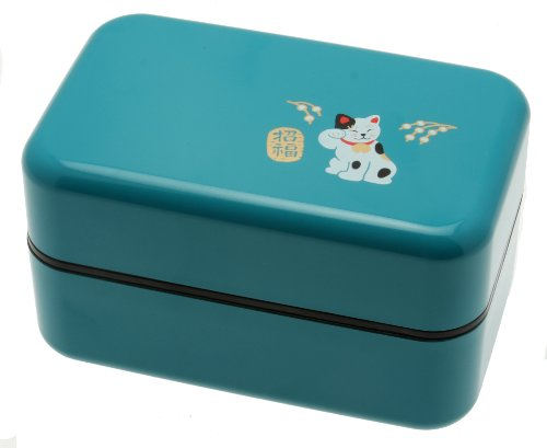 Kotobuki 2-Tiered Bento Box, Maneki Neko Lucky Cat, Teal by Kotobuki