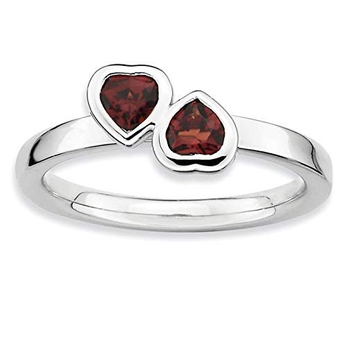 (925 Sterling Silver Rhodium-plated Double Heart Garnet Ring Band Size 9 by Stackable Expressions)