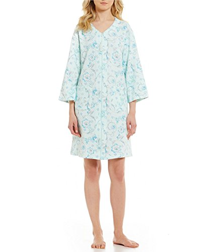 (Miss Elaine Quilted Floral Scroll Zip Robe 66% cotton 34% polyester (L, Turquoise Floral/Scrolls))