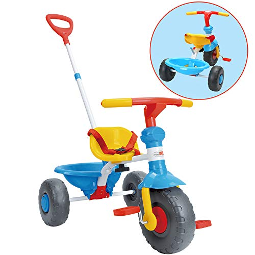 ChromeWheels Kids' Tricycle, with Pushing Handle and Grow-with Seat for 1-3 Years Old ()