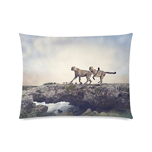 - Cheetah Wildlife Rectangle Sofa Home Decorative Throw Pillow Case Cushion Cover Cotton Polyester Twin Side Printing 20