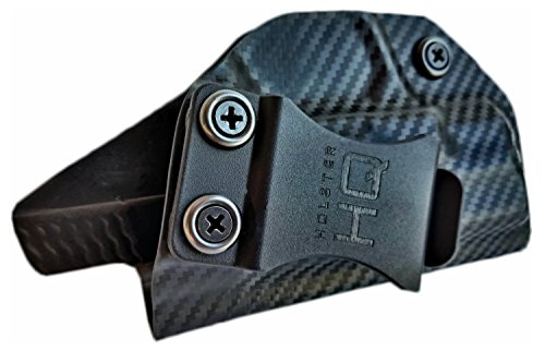 Holster HQ S&W IWB Holster fits Smith & Wesson M&P Shield 9 MM/.40 by Premium Custom Fit Concealed Durable Kydex | In the Waistband Hand gun Concealment | Compact Carbon Fiber Left Draw (Concealment Kydex Holster Paddle)