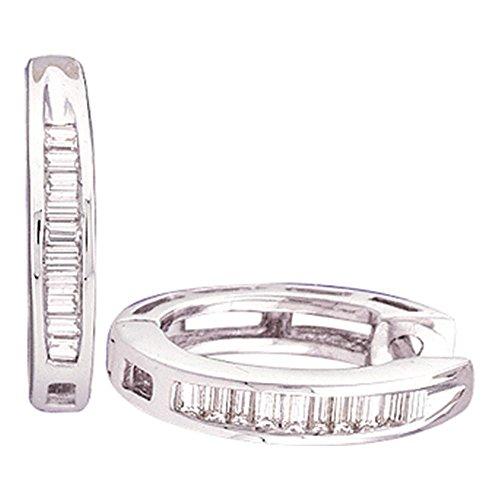 (Sterling Silver Womens Baguette Diamond Huggie Earrings 1/6 Cttw)