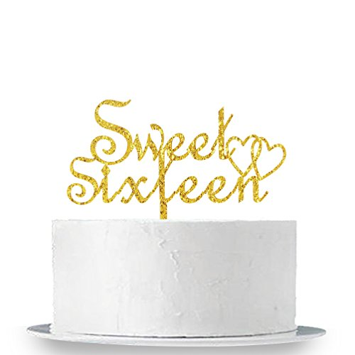 INNORU Sweet Sixteen Cake Topper - Sweet 16 Cake Topper 16th Birthday Party Decorations Supplies