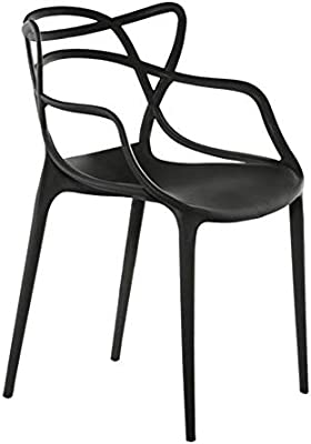 Black Set of Four Benzara BM191015 Plastic Accent Chairs with Aesthetic Backrest