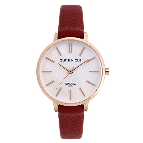 Women Watches,Ladies Fashion Waterproof Mother-of Pearl Dial Casual Wrist Watches with Genuine Leather Band Watches (Wine ()