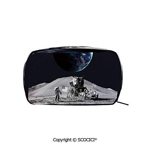 - Printed Portable rectangle Makeup Cosmetic Bag Moon US Spaceman Launching on the Exploring Dark Matter Orbit Luna Design Durable storage bag for Women Girls