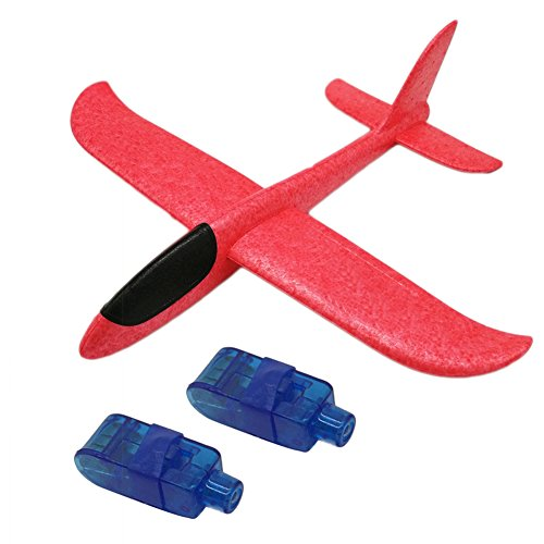 Brave Tour Throwing Glider Inertia Plane with 2PCS Led Lights Night Aircraft Toy, Hand Launch Airplane, Outdoor Sports Model Airplane Toy for Kids Children as Gift (Red) by Brave Tour
