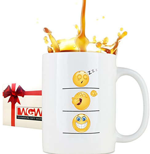 Funny Coffee Cup/Mug, Emoji Smiley Face, Large 16oz Leak Proof Coffee Cup With Large Handle, Humorous & Unique Novelty Gag Gift For Moms, Dads, Boys, Girls, Boss, Office & Others