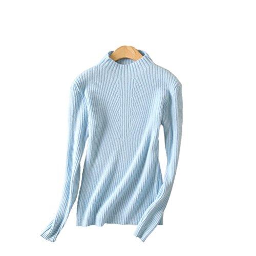 - Always Pretty Women's Slim Long Sleeve Wool Knit Jumper Pullover Sweater Blue M