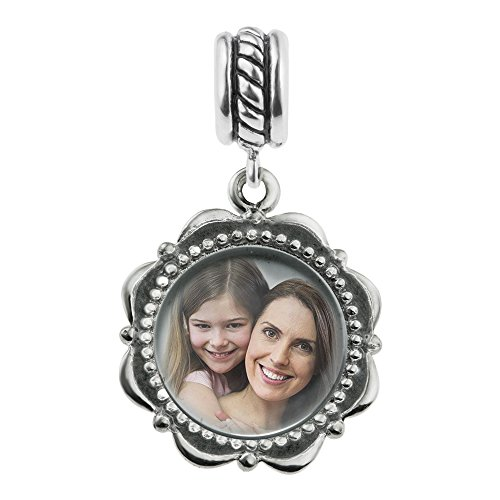 Sterling Silver Custom Personalized Dangle Photo Flower Frame Bead For European Charm Bracelets