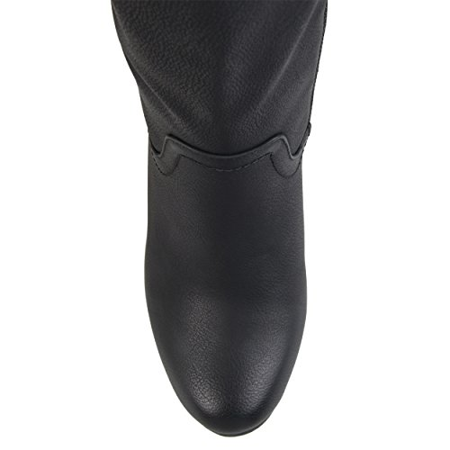Brinley Co Womens Regular and Wide Calf Round Toe Faux Leather Mid-Calf Wedge Boots Black, 9 Wide Calf US by Brinley Co (Image #4)