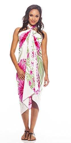 1 World Sarongs Womens Hawaiian Swimsuit Cover-Up Sarong in Pink / Green / White