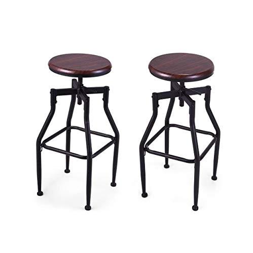 - Cypress Shop Pair High Bar Stools Black Top Height Bar Stool Swivel Metal Wood Seat Adjustable Height Barstool
