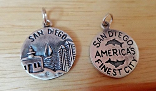 1 Sterling Silver 16mm San Diego says Americas Finest City California Charm Jewelry Making Supply, Pendant, Charms, Bracelet, DIY Crafting by Wholesale Charms