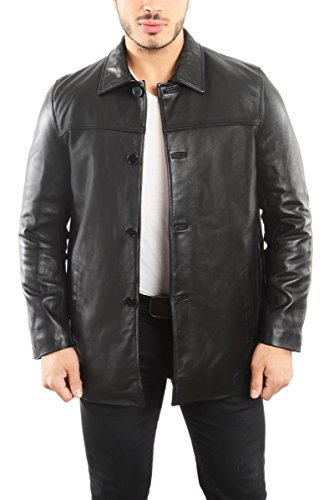Reed EST. 1950 Men's Jacket Genuine Lambskin Leather Four Button Car Coat (XL, BLACK) (Coat Leather Dress Men)