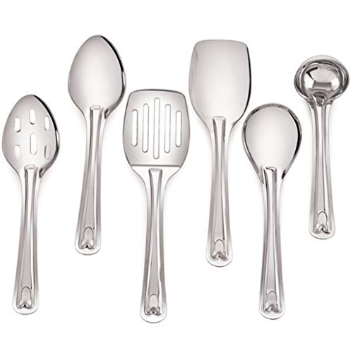 Complete 6 Piece 9 Stainless Steel Cooking & Serving Spoon Set, Includes Solid Spoon, Oval Spoon, Slotted Spoon, Ladel, Spatula & MultiServer - Heavy Gauge Durability - Modern Mirror Finish Flatware