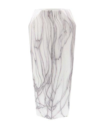 Deco 79 60770 Geometrically-Shaped Marbled White Ceramic Vase, (Black Ceramic Vase)
