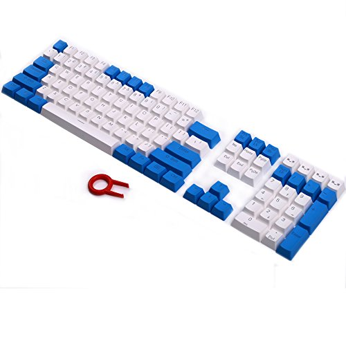 PBT Keycaps Backlit 108Key Set Doubleshot Translucent Cherry MX Key Caps Top Print with Keycaps Puller for 87/104/108 MX Switches Mechanical Gaming Keyboard (Blue White Combo) (White Key Caps)