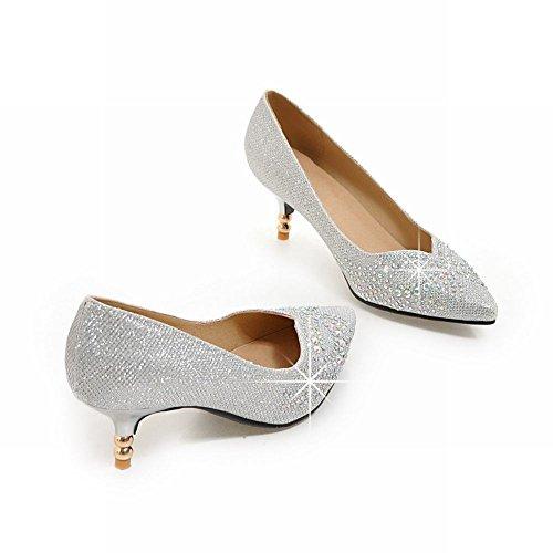 Pointed Dress Heels Silver Rhinestones Womens Toe Kitten Latasa Pumps 4WEngwqH4c