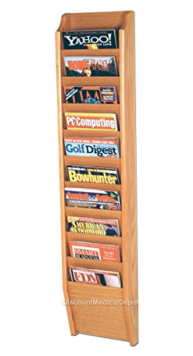 DMD Wall Mount Magazine Rack, 10 Pocket Display, Light Oak Finish