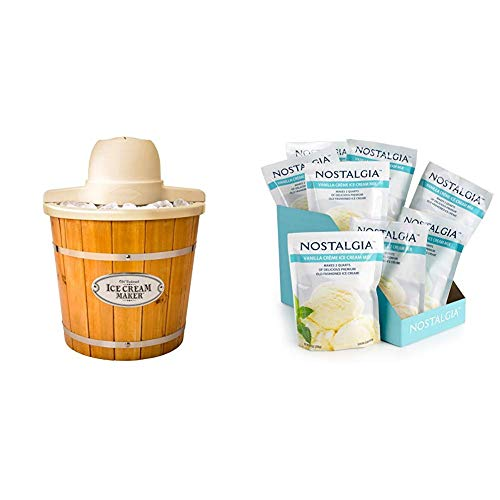 Nostalgia ICMP400WD Electric Wood Bucket Ice Cream Maker with 8 packs of Premium Vanilla Creme Ice Cream Mix (Nostalgia Electrics 4 Quart Ice Cream Maker Recipes)