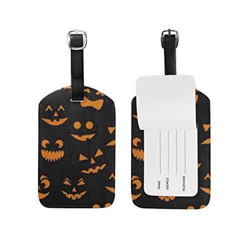 Luggage Tags Orange Halloween Pumpkin Cat Travel ID Identifier 1 Pack]()