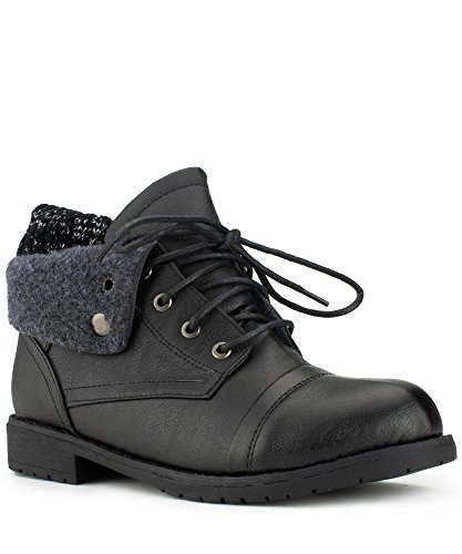 RF ROOM OF FASHION Women's Mid-Calf Lace-up Combat Military Folded Cuff Boots Black-Shorter Shaft (9)