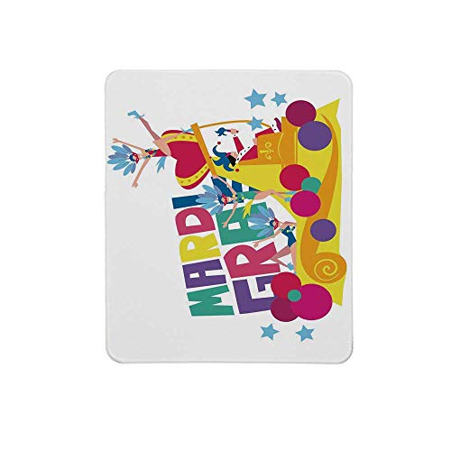 Mardi Gras Non Slip Mouse Pad,Festival Parade Theme Dancers in Costumes Colorful Dots Stars Abstract Design Decorative for Home & Office,11