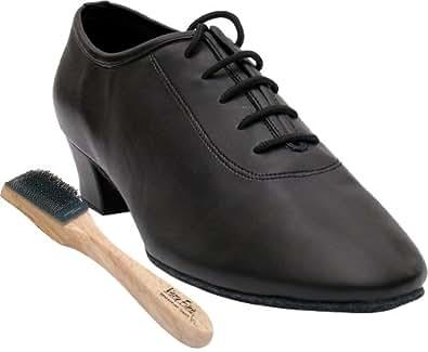 Very Fine Men's Salsa Ballroom Tango Latin Dance Shoes Style 2302 Bundle with Dance Shoe Wire Brush, Five Eyes Black Leather 10 M US Heel 1.5 Inch