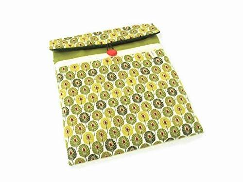 housse ipad femme vert style nature, pochette pour tablette 10 pouces en toile molletonnée imprimé feuilles, cadeau noel pour elle