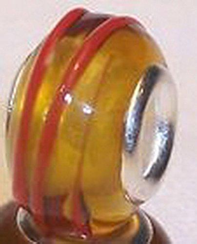 Glamorise Beads #14137 Honey Amber Red Orange Murano Glass Bead Gift for Silver European Charm Bracelet