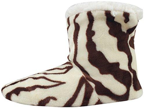 Enimay Kvinna Mode Plysch Fuskpäls Zebra Tryck Inomhus Halkfria Hus Tofflor Benvitt | Brun - 3
