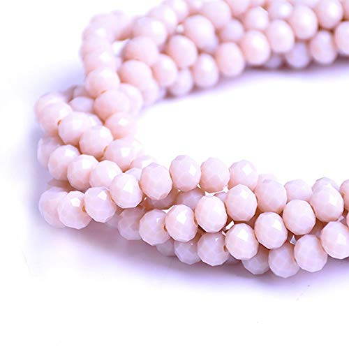 s - Glass Rondelle Faceted Beads Sand Light Brown for jewerly Making findings Handmade jewerly briolette Loose Beads Spacer Donut Faceted Top Quality 5040 (D156) ()