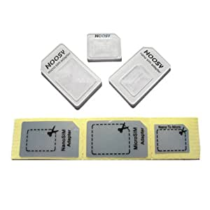 NOOSY 3 X Nano SIM to Micro/Standard Card Adaptors Adapter for Newest Apple iPhone 5 4S